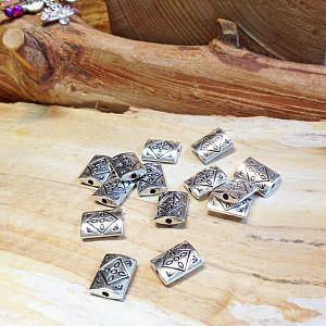 Set 8 Perlen Metallspacer Rechteck Blume antik silber 12 x 9 mm