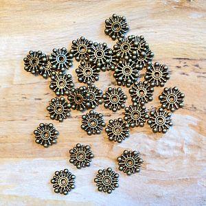 10 Metallperlen Metallspacer flach 10 mm bronze antik