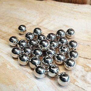 Kugelperlen 30 Spacer Perlen 5 und 6 mm Acryl Zwischenperlen silber