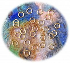 50 feste Metall Binderinge goldfarbig 8 mm außen