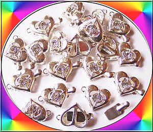 1 Steckverschluss Herz 15 mm silber mit Strass