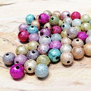 Perlenset 30 schöne Stardust Perlen Spacer bunte Mischung 8 mm