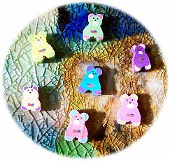 10 Teddy Bären polymer clay Kinder Perlen 12 mm