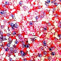 Japan. TOHO Rocailles Glasperlen Mix weiss violett rosa 20 g