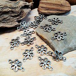 2 Metall Verbinder Blume für Ketten und Armbänder 15,5 mm
