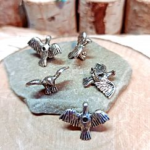2 Metallspacer 3D Vogelperlen silber antik 19 mm