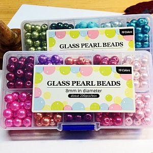 Perlenbox mit 200 Glaswachsperlen blau grün 8 mm (noch 1x)