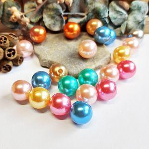 Perlenset 20 pastellige Perlen 12 mm Wachsperlen