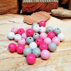 Perlenset 30 pastellige Perlen 10 mm Kunststoff ohne Naht