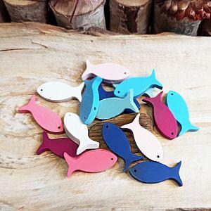 10 große Holzperlen als Fisch 30 mm