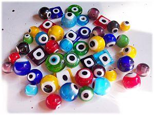PerlenSet mit 20 Glasperlen Augenperlen ca. 6 - 12 mm