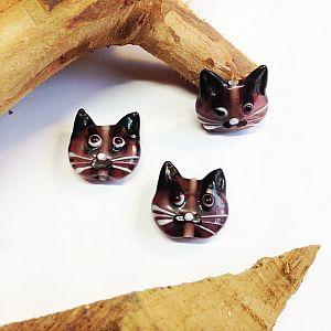Katzenperlen Set mit 2 Glaslampworkperlen Katzen handmade lila 22 mm