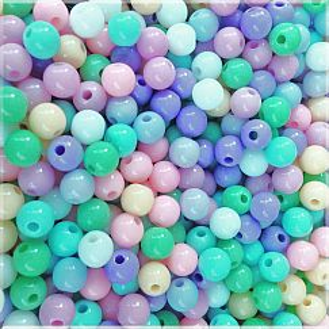 50 Acrylperlen pastell bunt 6 mm Loch 1,5 mm