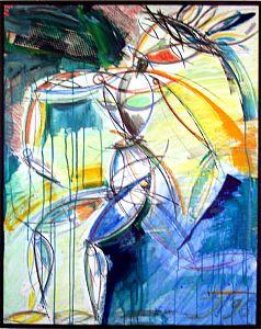Acrylmalerei auf Hartfaserplatte Bewegtes Leben