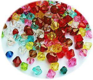 100 bunte Rhomben bicone Perlenset 6 - 12 mm Kinderperlen