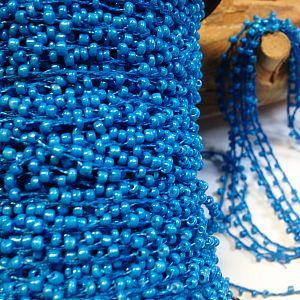 1 Meter Perlenfaden mit Rocaillesperlen mittel blau 2 mm