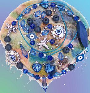 Kettenset, Kettenbausatz blau Perlenmix mit Lederband