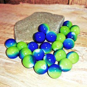 20 Glasperlen opak im Set blau - grün Farbverlauf 10 mm