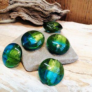 2 Glasperlen Lampwork Silbereinzug handmade blau grün 20 mm