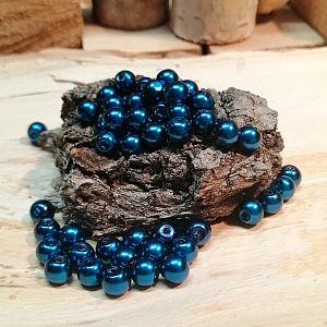 Perlenset 50 Glaswachsperlen dunkelblau 6 mm