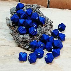 20 Perlen Rhomben Acryl dunkelblau 10 mm