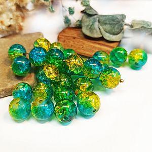 Perlenset 20 Crackleglasperlen blau gelb 10 mm Kugel
