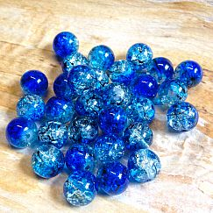 Perlenset 20 Cracelglasperlen blau 10 mm Kugel