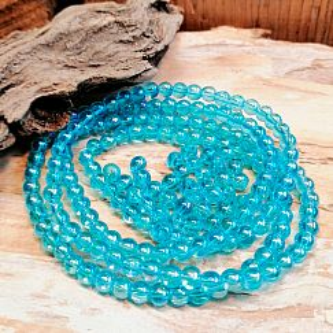 40 geschliffene Glasperlen Kugelform türkisblau 4,5 mm