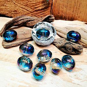 4 AB Glasperlen rauchgrau lila irisierend oval rund 16 x 13 mm