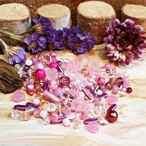 50 g böhmische Glasperlen als Mix in rosa