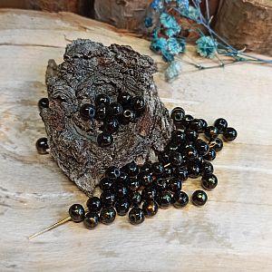 40 böhmische Glasperlen Kugeln 6 mm in schwarz Goldfolie