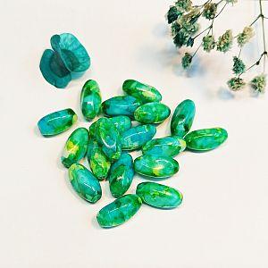 4 Glasperlen bau grün marmoriert Twist 15 x 8 mm