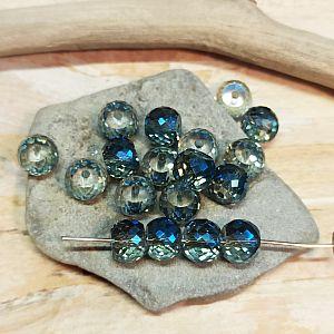 6 facettierte und geschliffene Glasperlen blau feuerpoliert 8 mm