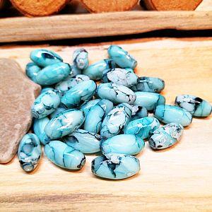 4 Glasperlen rauchblau marmoriert twist 15 x 8 mm