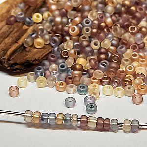 20 g böhmische Glasperlen Rocailles 2,6 mm braun gefrostet