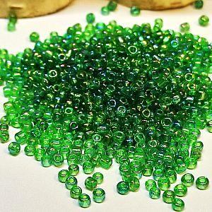 20 g böhmische Glasperlen Rocailles 2,6 mm grün feuerpoliert