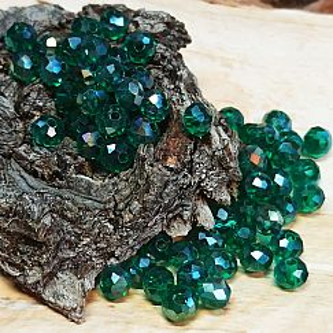 30 facettierte geschliffene Rondelle Glasperlen dunkelgrün 6 x 5 mm