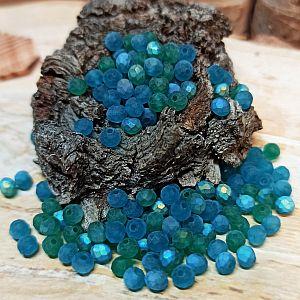 40 Facettierte geschliffene Rondelle Glasperlen blau grün 4 x 3 mm gefrostet