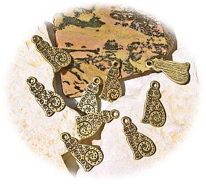 2 Metall Anhänger Katze 18 mm bronze antik