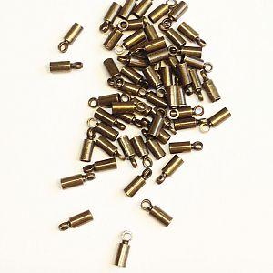 10 Endkappen Endhülsen für 2 mm Leder o. Perlband antik bronze