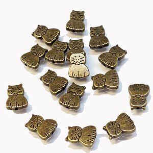 10 Stück Metallperlen Katzenmotiv bronze antik 11 mm
