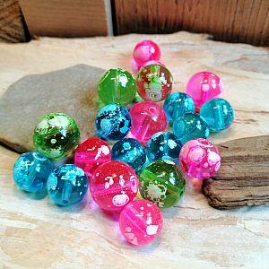 15 große Cosmic Glasperlen 12 - 14 mm Loch 1 mm rosa grün türkis