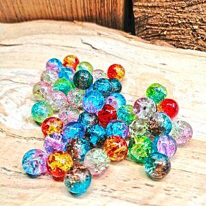 50 Glascrackleperlen 6 mm mit Farbverlauf bunter Mix