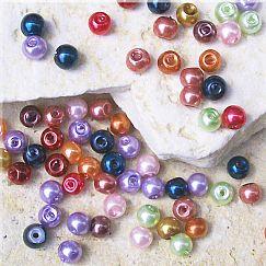 Set mit über 200 Glaswachsperlen bunte Mischung 4 mm