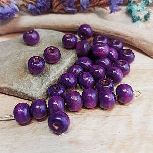 50 einfache Kinderperlen Holzperlen Kugeln violett 8 mm