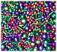 Perlenset 30 bunt irisierende Perlen bis 16 mm