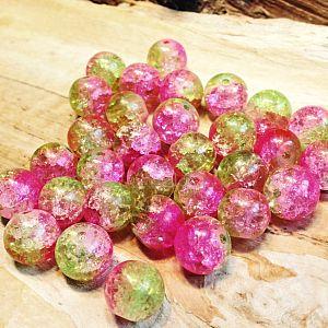 Perlenset 20 Cracelglasperlen rosa grün 10 mm Kugel