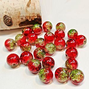 Perlenset 20 Crackleglasperlen rot grün 10 mm Kugel
