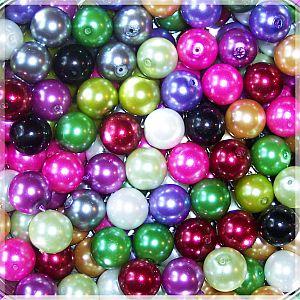 PerlenSet 20 große Glaswachsperlen bunt 14 mm Kugel