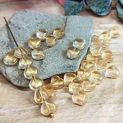 20 Glasperlen Herzen champagnier mit Goldpuder 6 mm